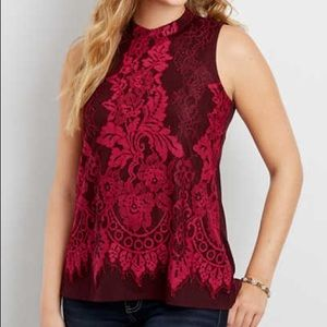 Lace Overlay Burgundy and Pink Sleeveless Top